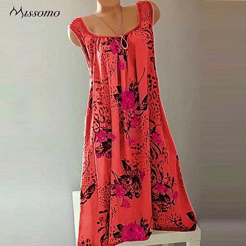 Women Summer Dress Ladies Printed Sexy Lace Sleeveless Boho Dress Bohemian