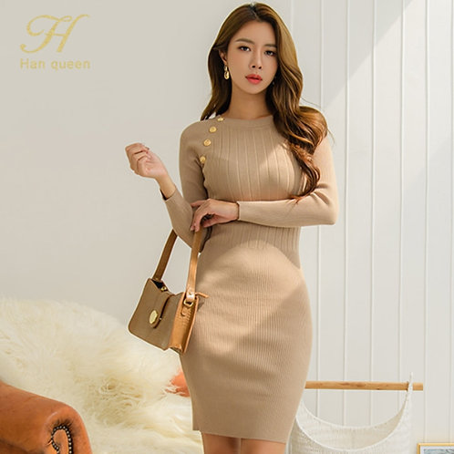 Queen New Women's Simple O-Neck Knitted Dresses Office Sheath Dress Elasticity
