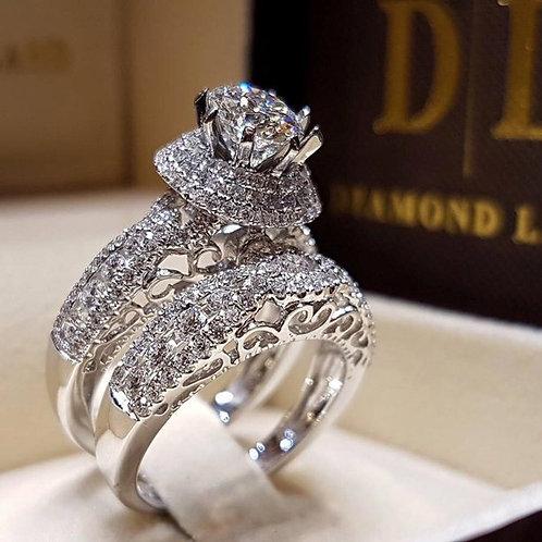 Women's Double-Layer Micro-Inlaid Zircon Artificial Diamond Ring Set