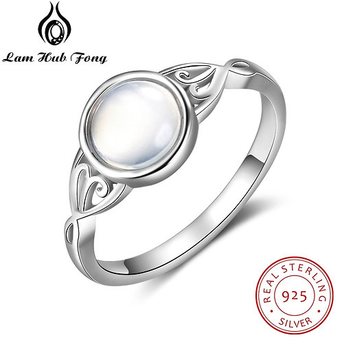 925 Sterling Silver Style Round Female Ring Fine Jewelry for Wife (Lam Hub Fong)