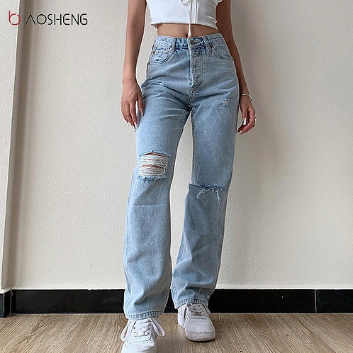 Pants Female Women's Jeans Large Pants High Waist Undefined Stright Trousers