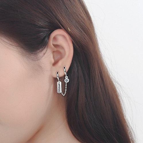 """1Pc Double Ear Letter """"Merci"""" Hoop Earring for Women Jewelry Accessories Gifts"""