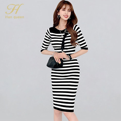 Queen Striped Dresses Women Knitted Dress Simple O-Neck Bodycon Work Office