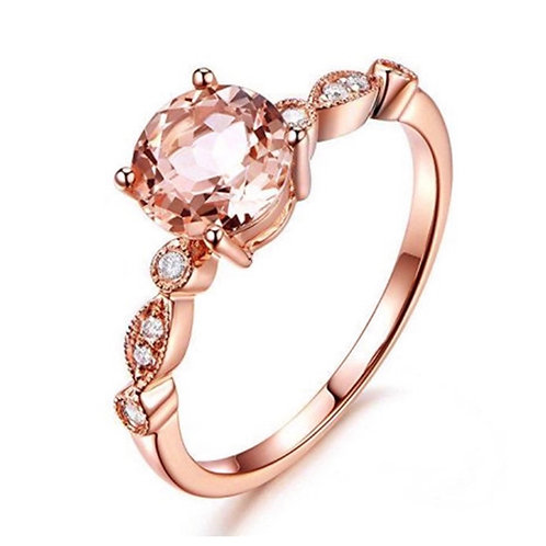 Champagne Copper Rose Gold Zircon Ring