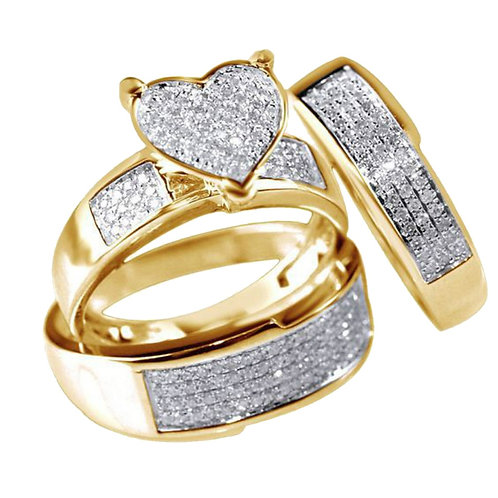 Heart  Gold Women's Ring Set Engagement Wedding Ring  Jewelry 3 / Piece Set