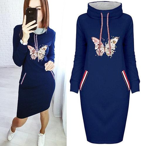 Butterfly Plus Size Pocket Bodycon Dresses Vintage  Mini Black Dress