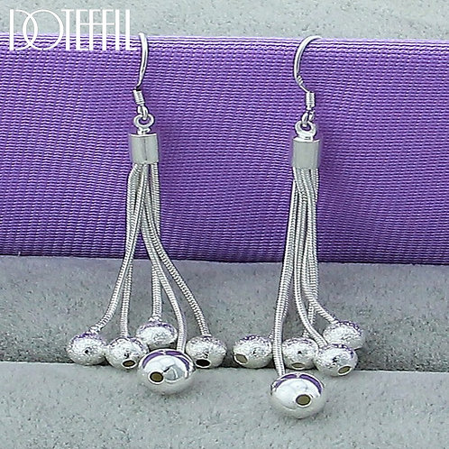 925 Sterling Silver Smooth Matte Five Beads Earrings for Woman Wedding Engagemen