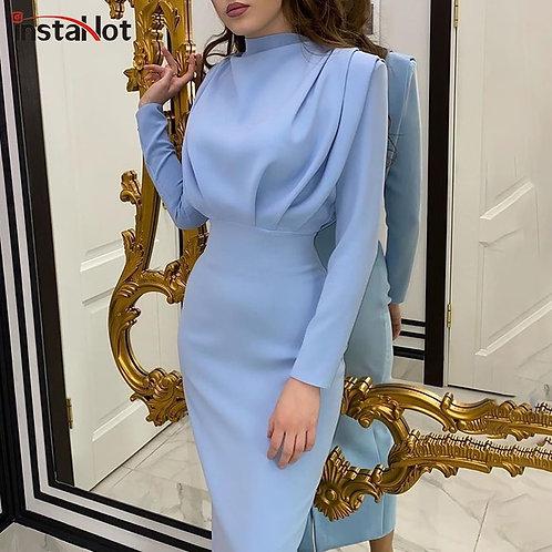 Elegant Women Dress Stand Collar Slim Waist Length  Long   Dress 2020 Fashion