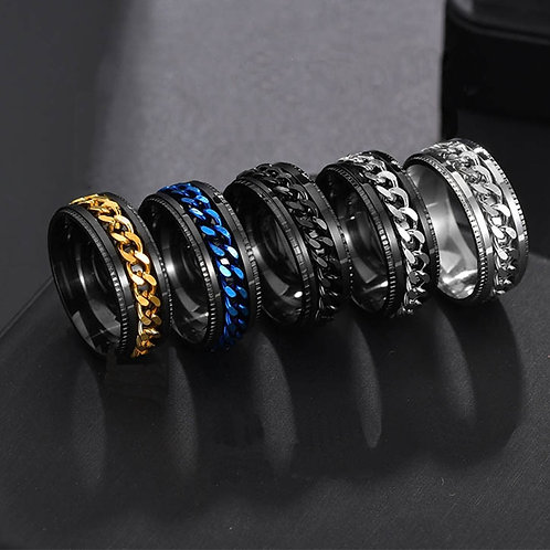 Rotating Chain Rings Titanium Stainless High Quality Jewelry Charm Party Gift