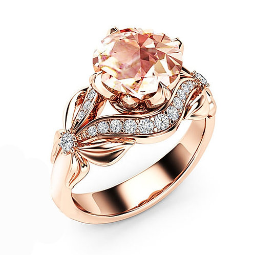 Rose Gold Flower Crystal 1PC Zircon Female Ring Couple Bowknot Cubic Zirconia