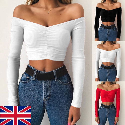 Women Sexy Ladies Off-The-Spring  Long Sleeve Tops  Fit Fashion Basic Clothing