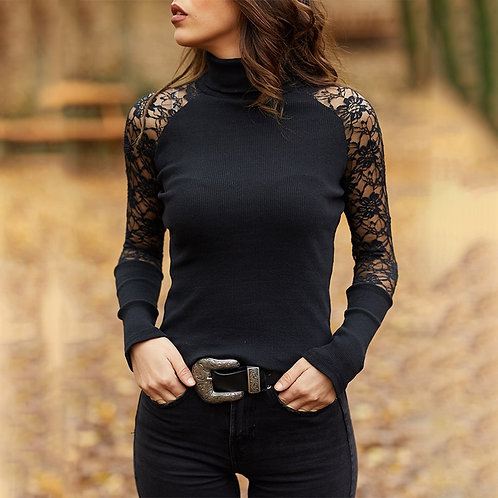 Women Knitted Sweater Casual Soft O-Neck Jumper Fashion Slim Lace Hollow Out