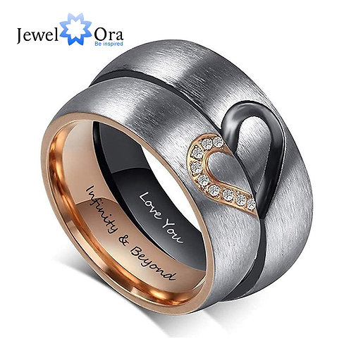 Personalized Engraving Wedding Engagement Rings for Women Men Promise Gift