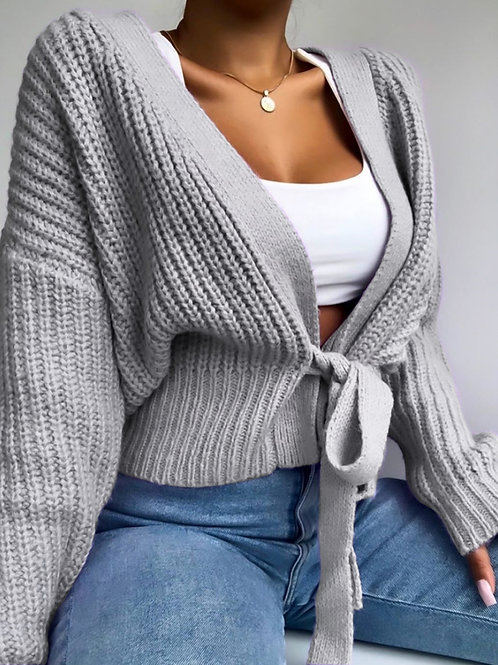 Womens Sweater V-Neck Cardigan Lace Up Bow Sweater Solid Color Female's