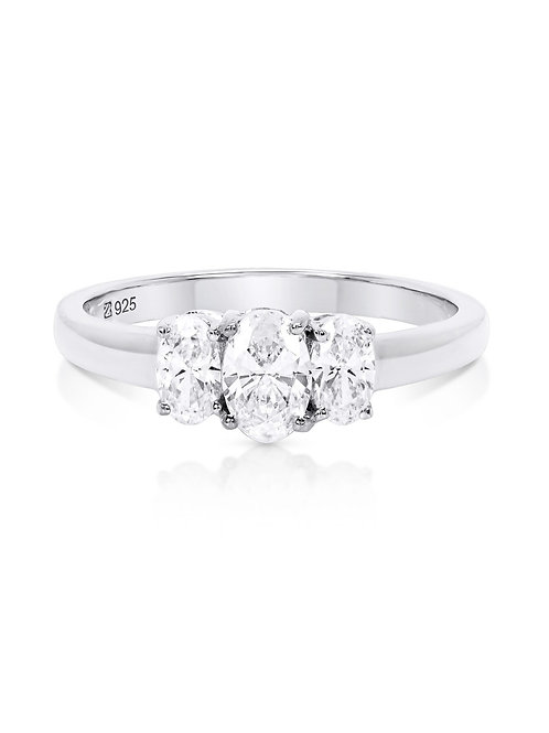 Oval Cut Three Stone Cubic Zirconia Engagement Ring in Sterling Silver