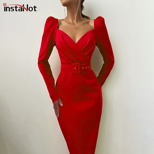 Party Women Dress Slim v Dress 2020 Casual Office Lady Solid Red Puff Sleeve
