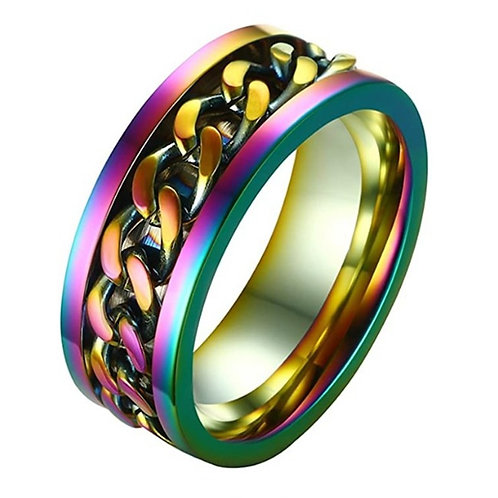 8MM Titanium Stainless Steel 5 Color Rotating Chain Ring