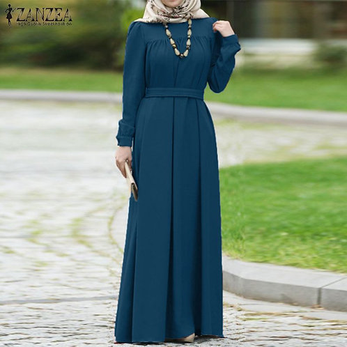 Women Casual Long Sleeve Solid Long S-5xl Kaftan Abaya   Dress