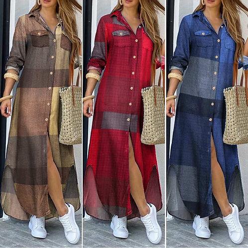 2021 Women  Vintage Long Sleeves Maxi Shirt Robe Plaid Vestidos Plus Size 5XL