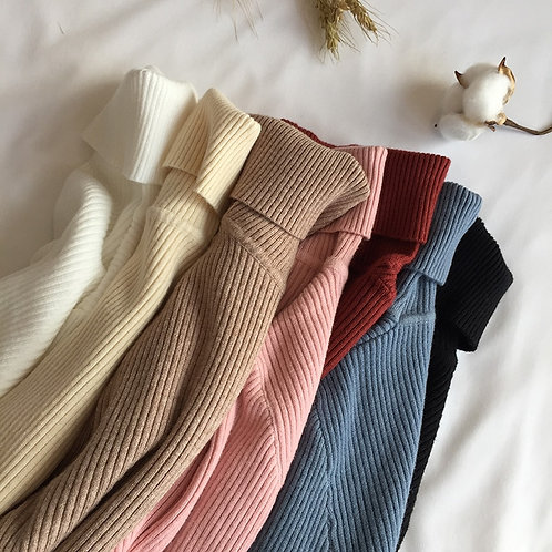 Knitted Ribbed Pullover Sweater Long Sleeve Slim Jumper Soft Warm Pull Femme