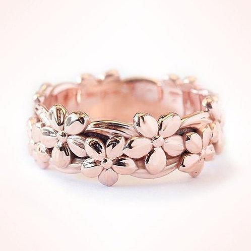 14K Rose Gold Floral Lucky Daisy Plum Blossom Cherry Flower Band Rings