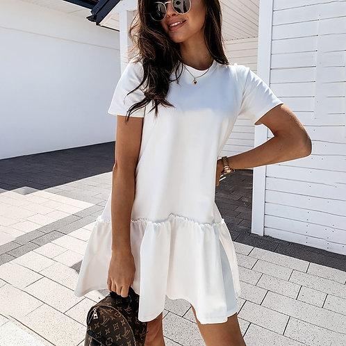 Casual Short  Mini Dress Women 2021 O-Neck White Black  for Woman Femme Robe