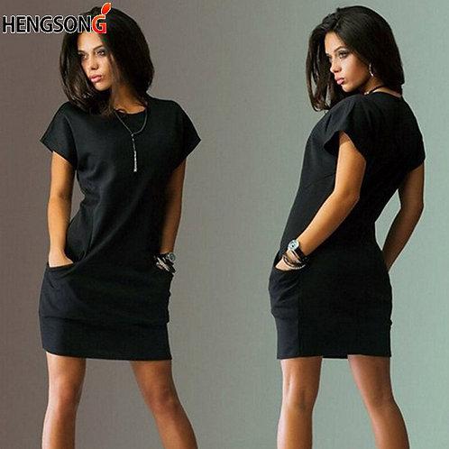 New Women Pocket Loose Casual Female Dress for  Short Sleeve O Neck Vestidos