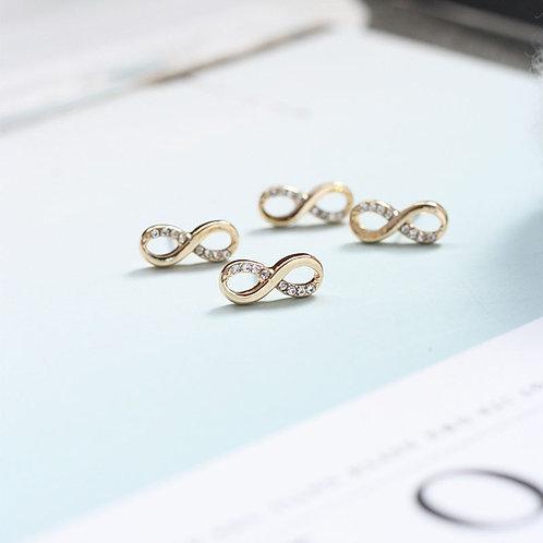 1Pair Women Fashion Zircon Crystal Rhiestone Alloy Infinity Ear Stud Earrings