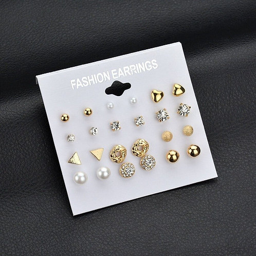12pairs/Set Gold Silver Color Small Stud Earrings Sets Geometric Star Round