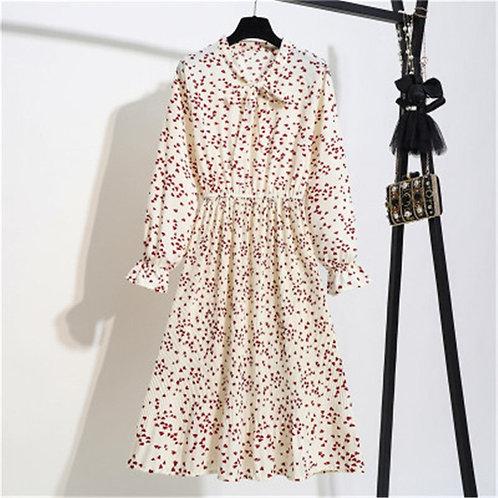 Casual Dress Lady Long Sleeve Bow Shirt Dresses