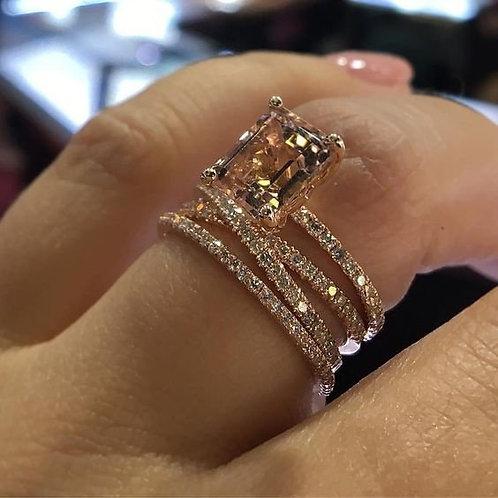 Women's 925 Sterling Silver 14K Rose Gold Natural Morganite Diamond Ring