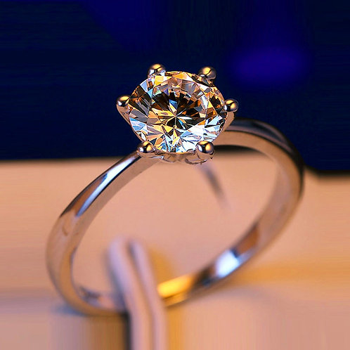 Diamond Ring Real 925 Sterling Silver Ring Solitaire Wedding Rings for Women