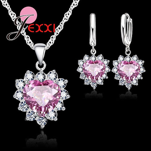Crystal Pendant 925 Sterling Silver Necklace Jewelry Sets Blue Zircon Accessory