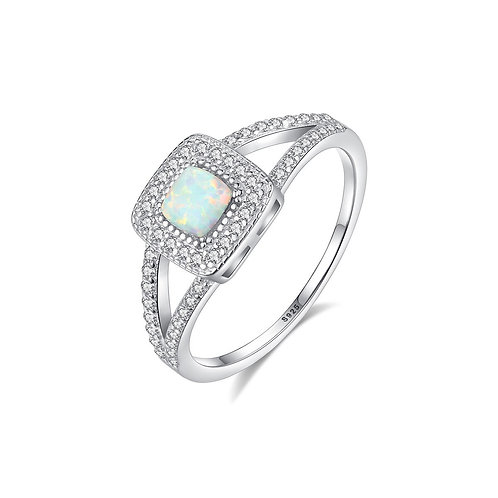 S925 Sterling Silver Diamond Opal Ladies Ring