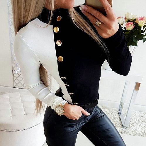 Blouse Casual Winter Ladies Turtleneck Slim Fit Tops Female Women Long Shirt
