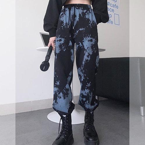 Tie Dye Sports Pants for Women Winter Loose Trousers Pants on Fleece Plus Size