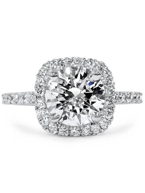 1 3/4 CT Halo Diamond Engagement Ring Round Cut 14K White Gold