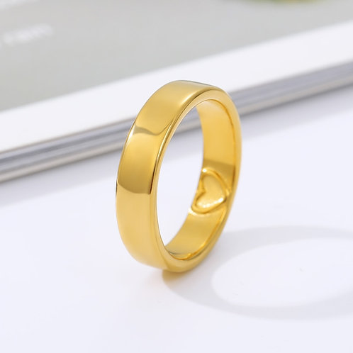 Heart-Shaped Carving Simple Round Rose Cute Jewelry Couple Engagement Best Gifts