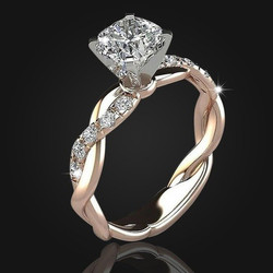 Womens Rose Gold Plated Lingering 18K Gold Diamond Ring
