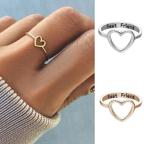 1pc Heart Gift Golden Hollow Out Women's Ring Best Friend Promise Girl Rings