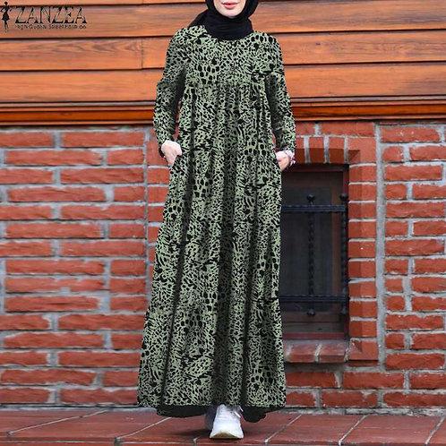 Vintage Dubai Abaya Turkey Hijab Dress Autumn Sundress Robe Femme Vestido Kaftan