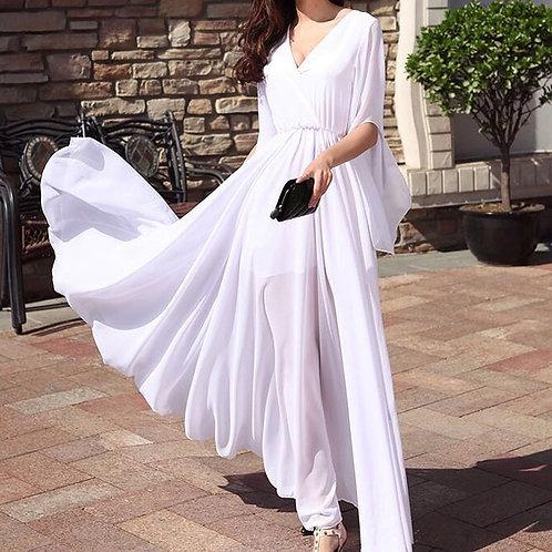 2021 Summer Vestido Slim Chiffon Long White Bach  Women Sexy Deep V-Neck 3XL