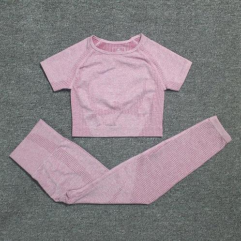 2 Piece Vital Seamless Sport Suit Short Sleeve Fitness Top High Waist Seamless