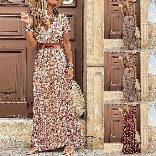 Womens Long Dress Summer V-Neck Party Dress  Bohemian Beach Holiday Sundress