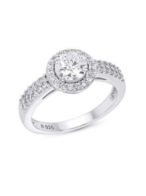 Round Halo Cubic Zirconia Engagement Ring in Sterling Silver