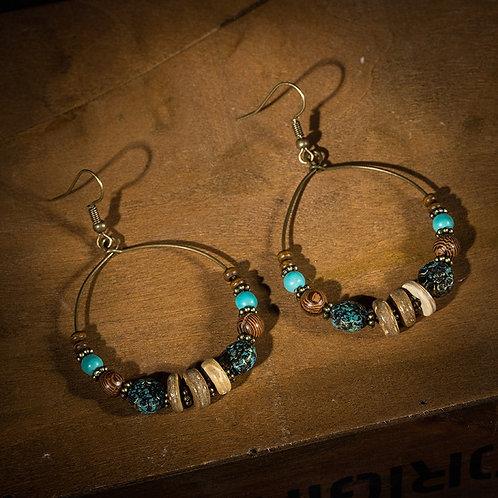 Hot Sale Women Resin Wooden Beads Drop Earrings Vintage Round Shape Dangle