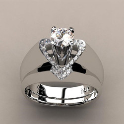 Women's Heart Shaped 925 Silver Simulation Diamond Ring