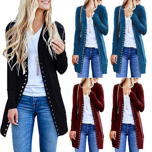 Women Sweater Long Sleeve Button Loose Jacket Coat Outwear Spring Autumn