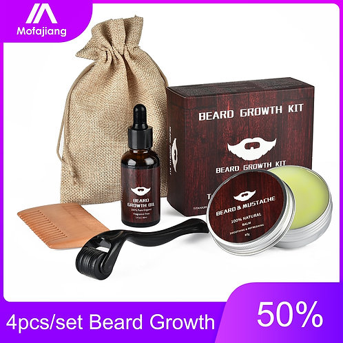 4pcs Set Barbe Beard Growth Kit  Oil Balm Hair Set With Comb Roller Facial Care