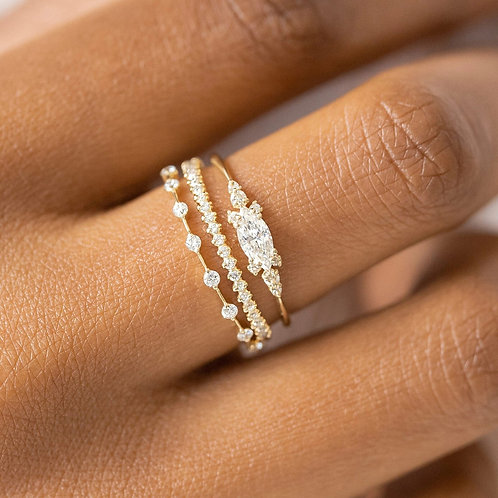 3pcs Rings Crystal Alloy Gold Color Rings for Jewelry Romantic Wedding  Jewelry